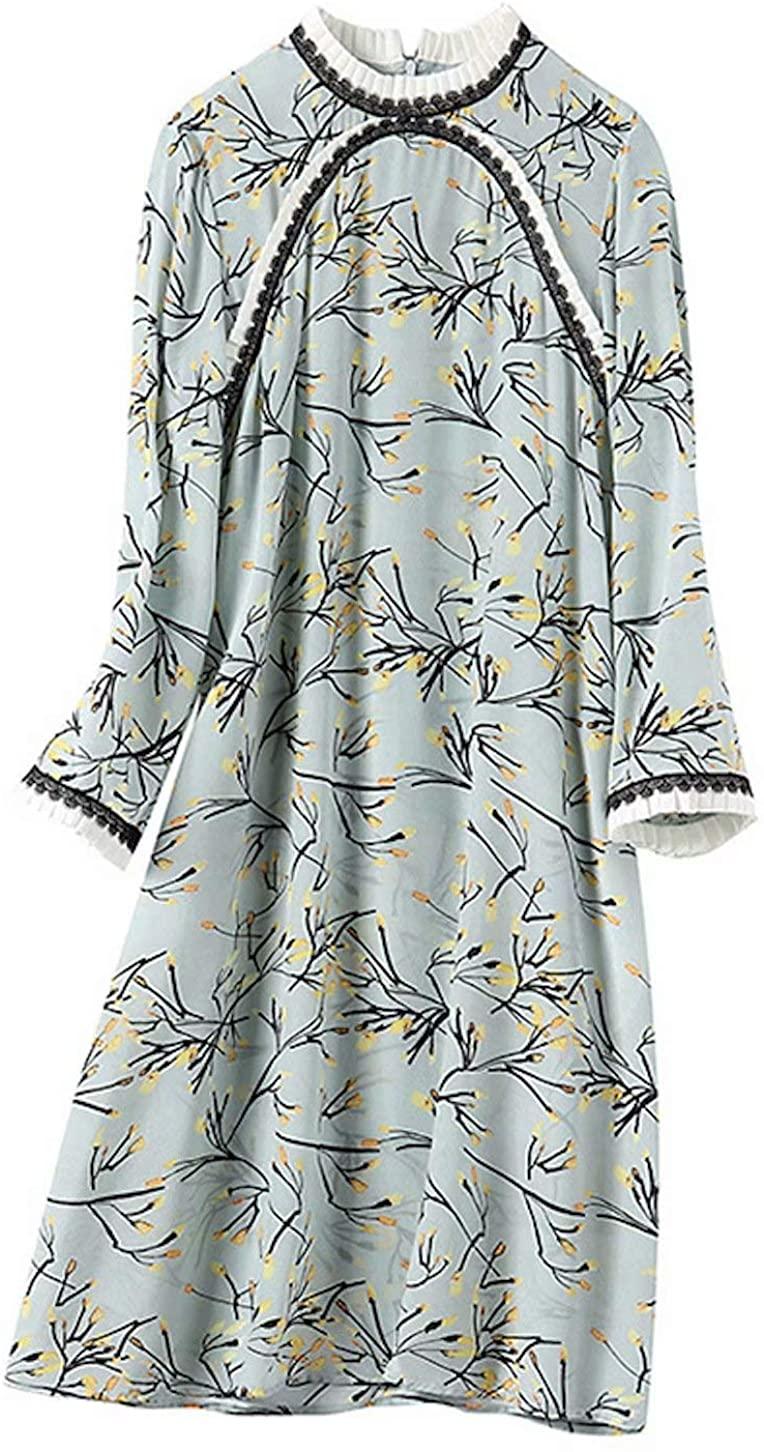 HangErFeng Everyday Dress Silk Printing Modified Cheongsam Mock Neck Knee Length Skirt 2120