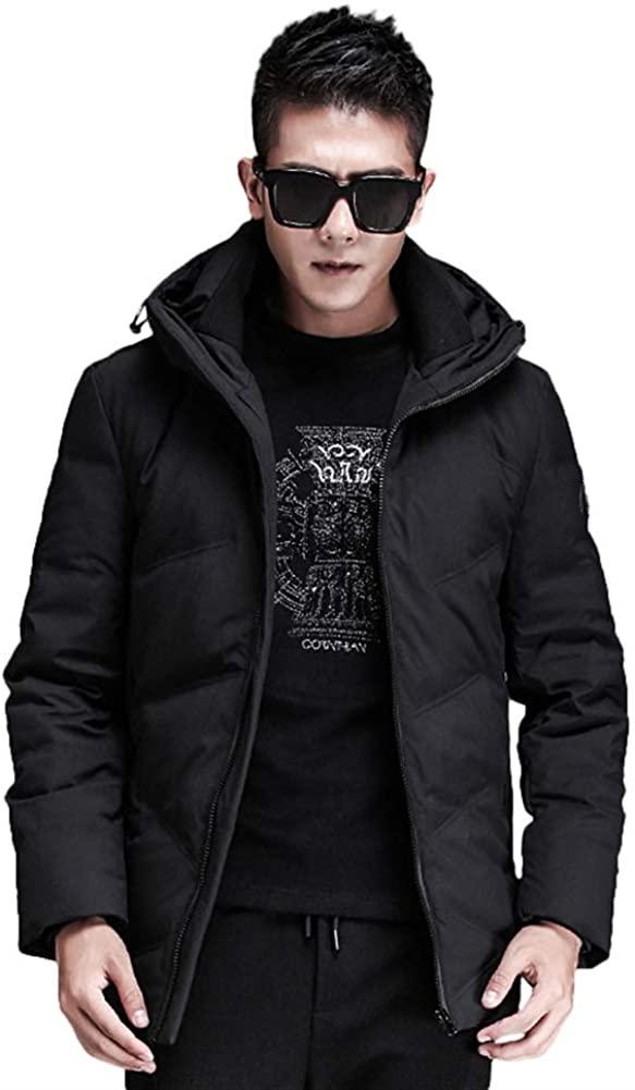 Icegrey Men's Classic Hooded Puffer Jacket Winter Business Warm Clothing CoatBlack B,XS