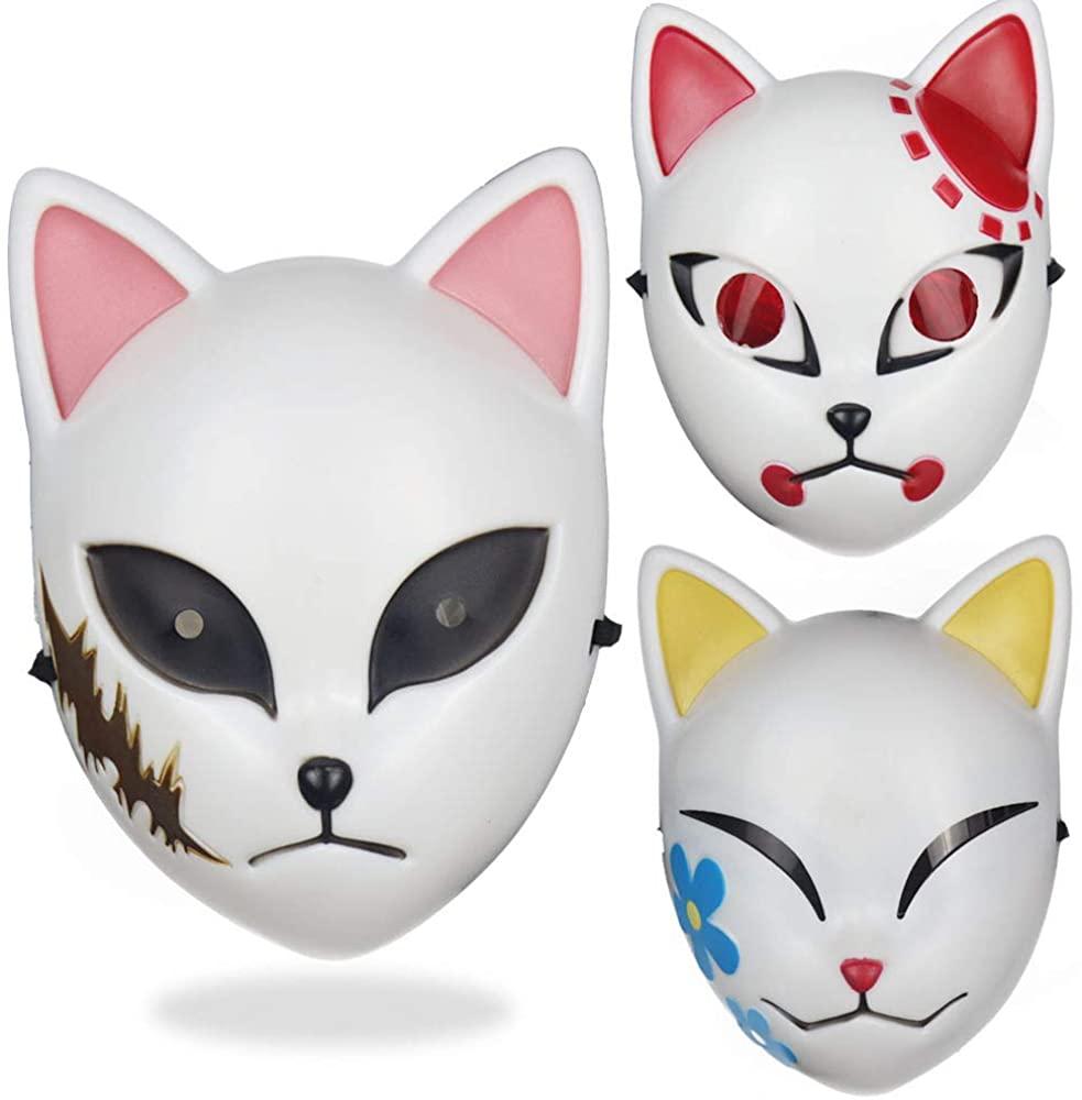 JUZIPI 3PCS Demon Slayer Cosplay Mask Kimetsu no Yaiba Cosplay Costume Japanese Anime Photography Props Toy White