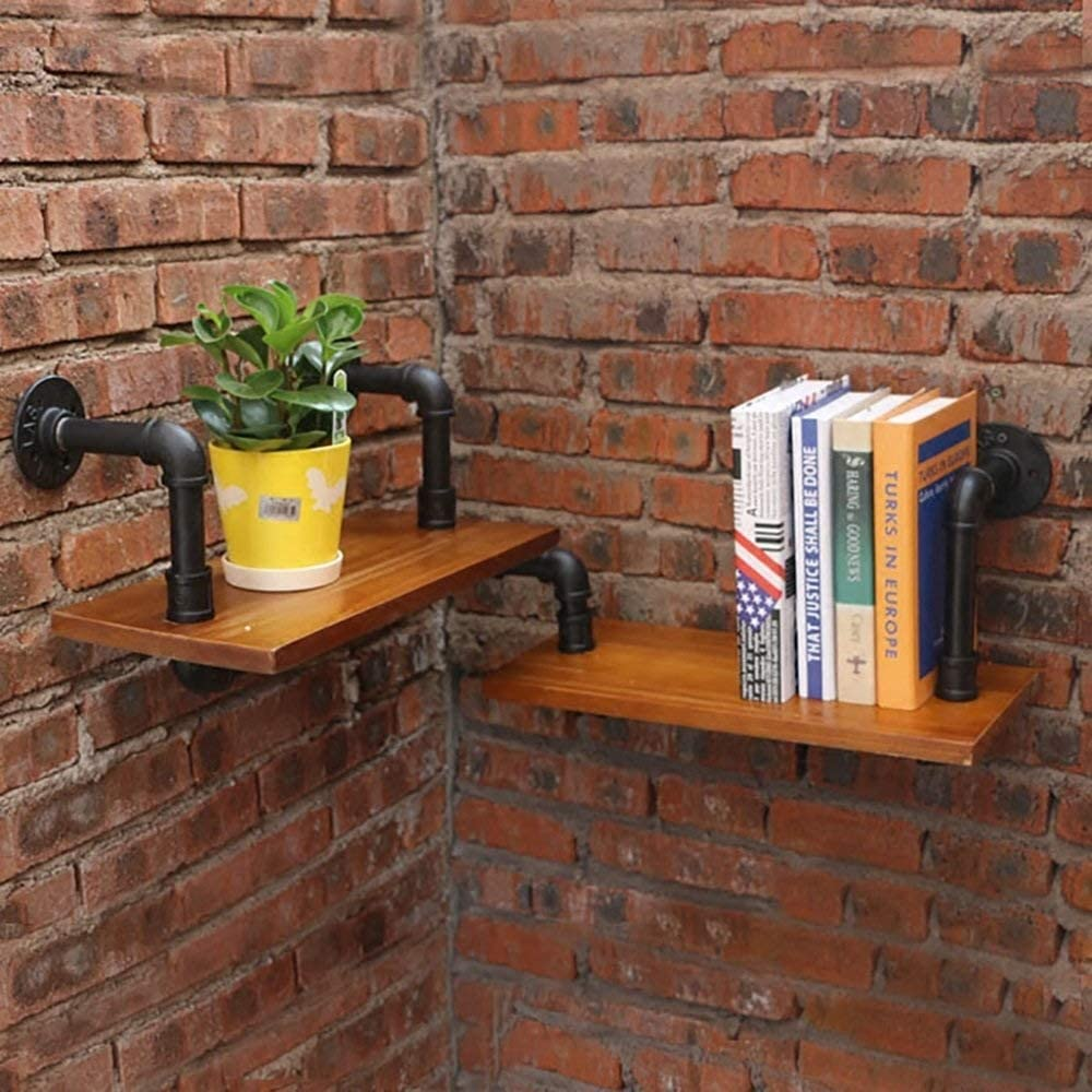 HLL Floating Shees,Wall Unti Wall Shelf Wall Hanging Retro Water Pipe Rack Bookshelf Solid Wood Partition Decorative Frame