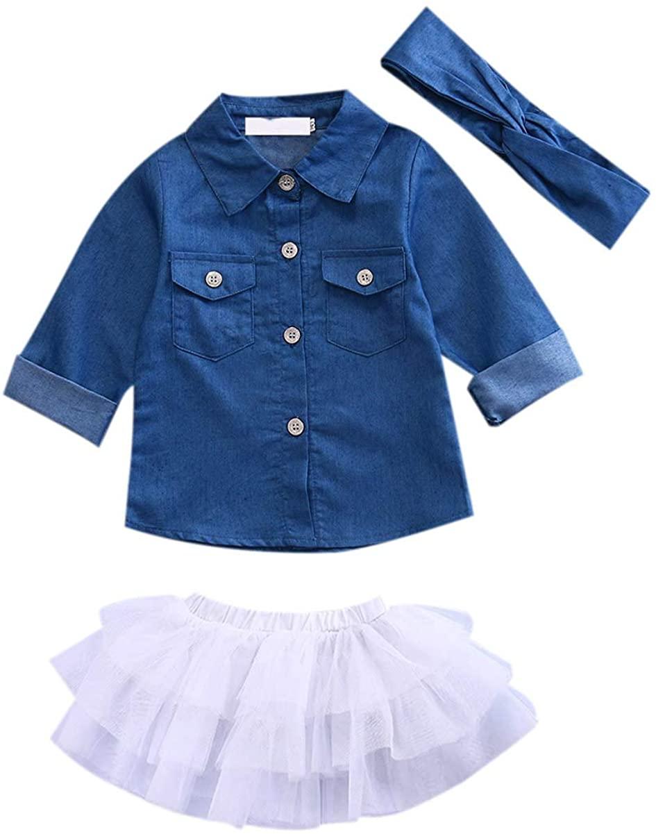 Madjtlqy Baby Girl Summer Clothing Sets Clothes Denim Shirt Top +Tutu Skirts+Headband 3pcs Outfits 0-5T …