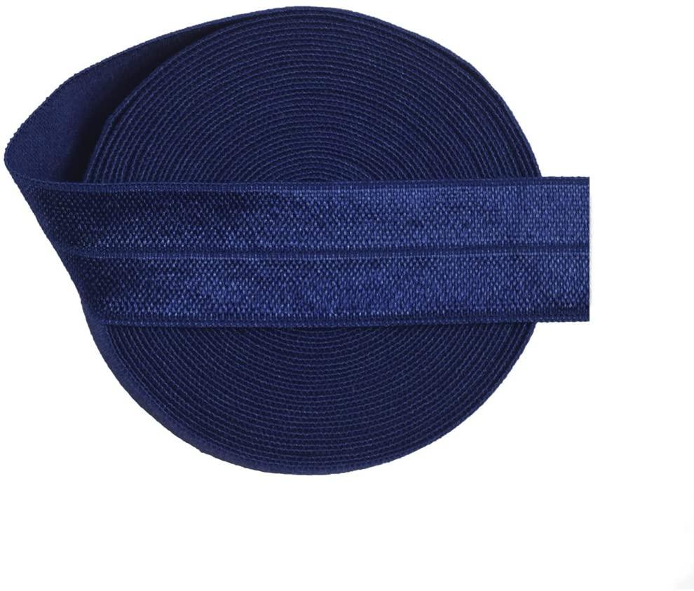 DIY PARK 5 Yard 3/4 20mm FOE Fold Over Elastic Spandex Satin Band Lace Dress DIY Sewing Trim Craft(Navy)