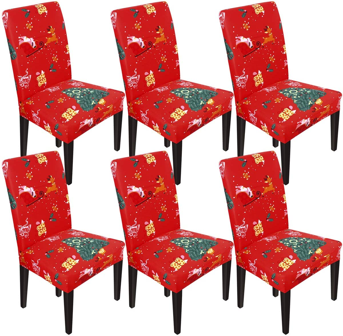 NORTHERN BROTHERS ChristmasDining Chair Covers for Dining Room Parsons Chair Slipcovers Christmas Decoration (Santa Claus, 6)