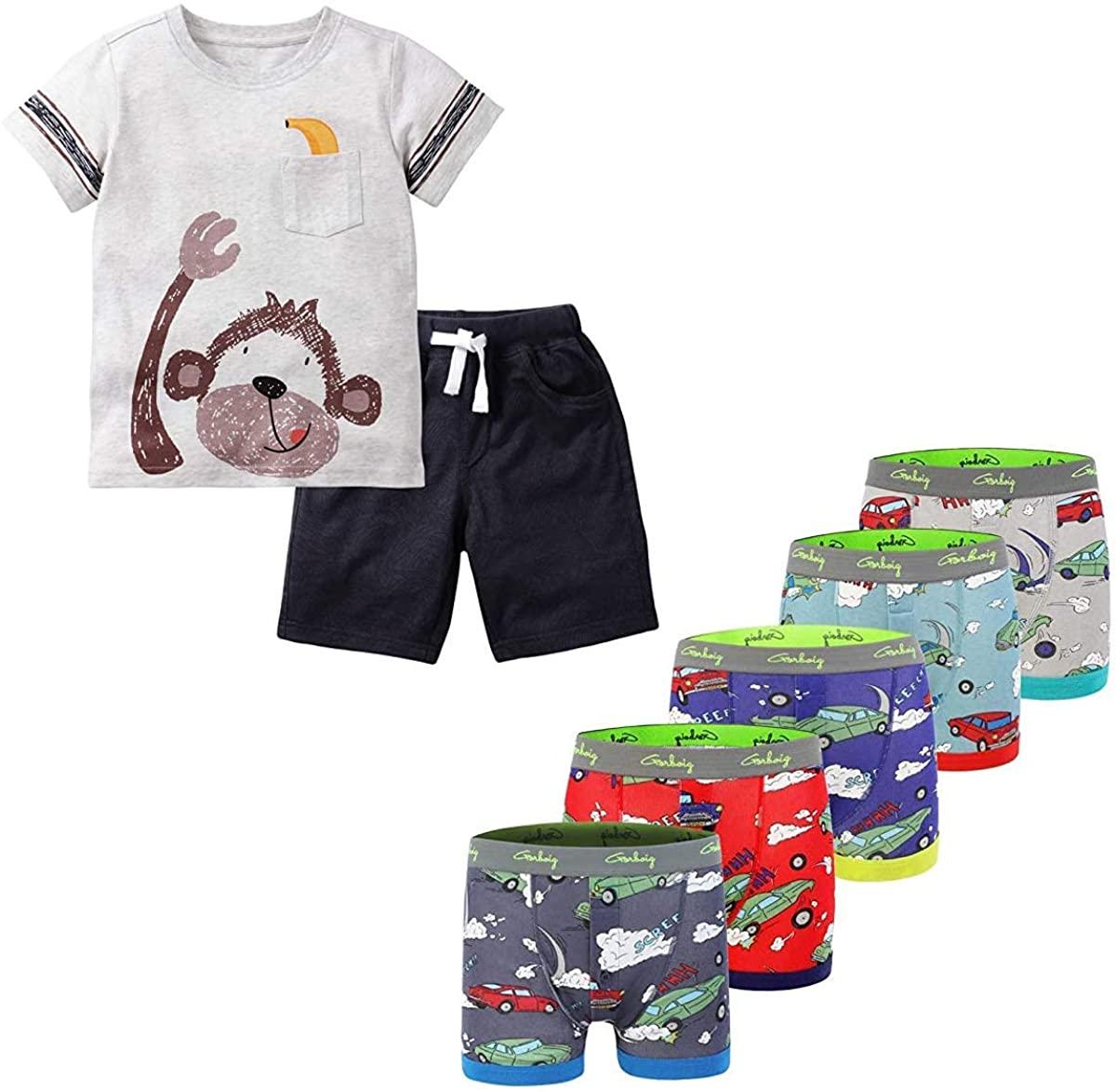 Gorboig Toddler Boy Clothes 6T Summer Outfits Short Sleeve Monkey Clothing Set T-Shirt&Shorts & Dinosaur Underwear