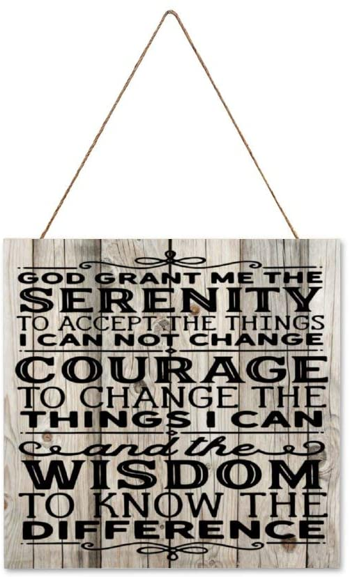 DONL9BAUER Serenity Prayer Christian Hanging Wood Sign Plaque Wall Decor Sign Inspirational Quote Rustic Wall Art for Living Room Indoor Outdoor