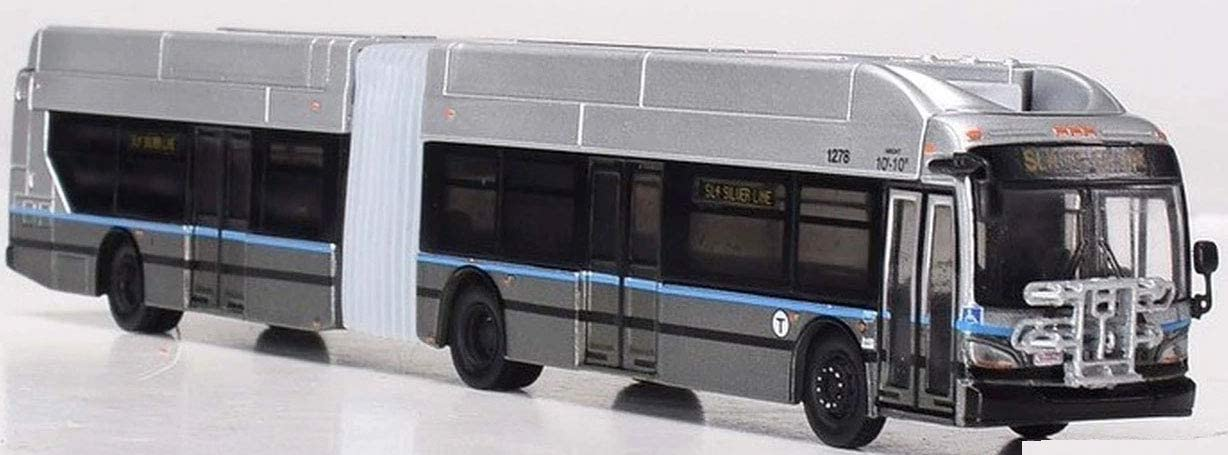 Iconic Replicas New Flyer Excelsior Articulated Bus 1/87 Scale- HO Scale Boston T MBTA Silver Line New! Limited Edition!