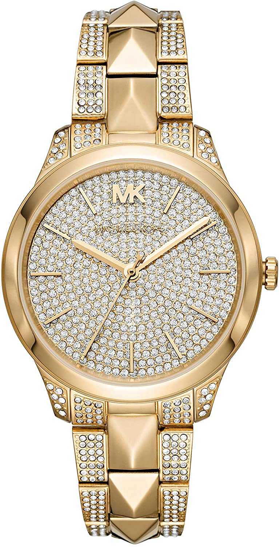 Michael Kors Women's Runway Mercer Quartz Watch with Stainless Steel Strap, Gold, 18 (Model: MK6715)