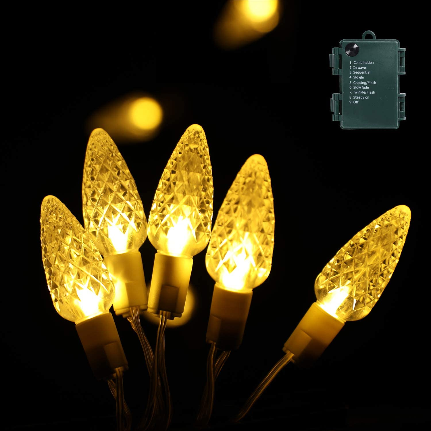 Christmas Lights, 16.4 Ft 50 Leds Strawberry Battery Operated Strings Lights 8 Modes On/Off Timer for Xmas Tree Indoor Outdoor Christmas Decorations