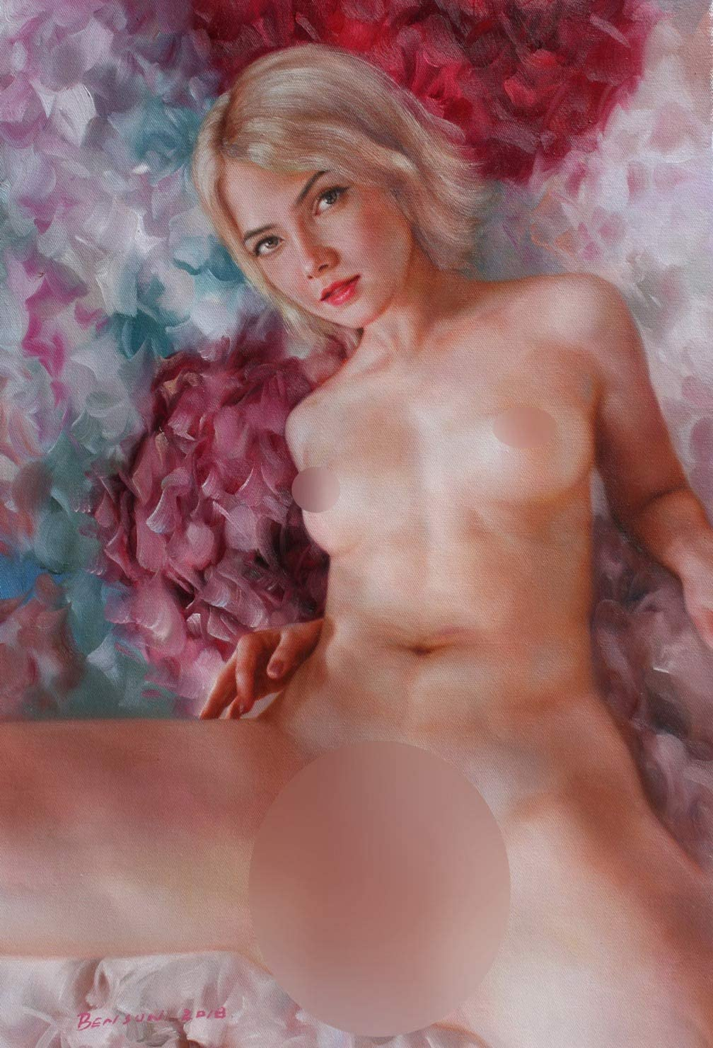 Nude Girl Art Prints Canvas Transfer from Original Oil Painting Charming Nude Girl Beauty Lady Female Nude for Home Wall Decor (16
