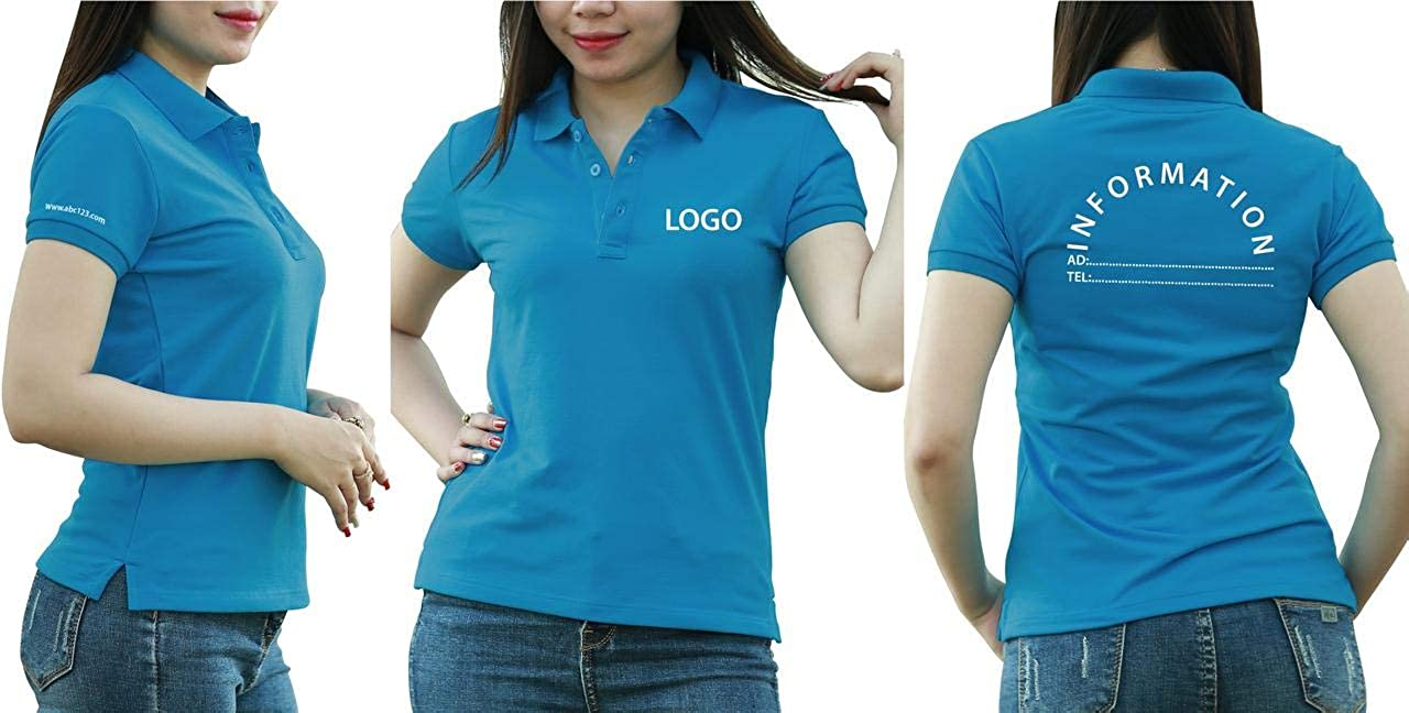 Add Your Logo Text Design Image Picture. Custom Polo. Personalized Polo. Embroidered On Polo & T-Shirt Uniform with Multi Sides. International Pack of 10 Air Blue