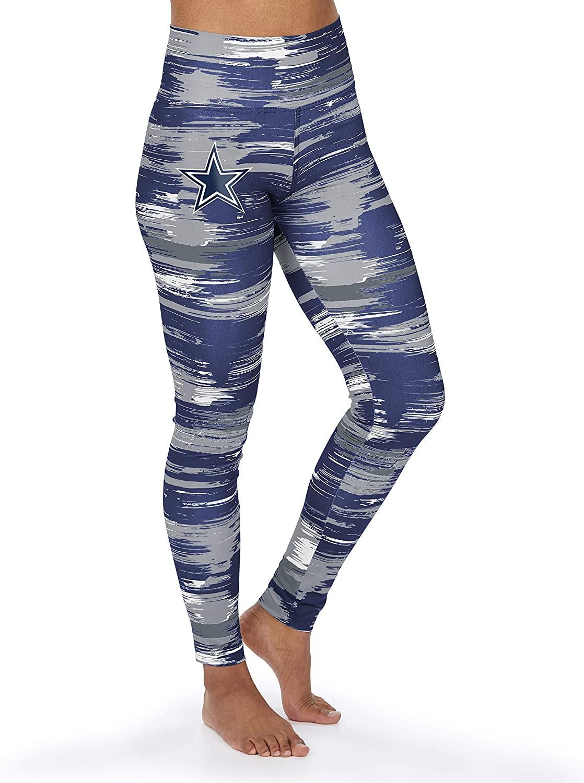 Zubaz NFL Dallas Cowboys Womens Paint Legging, Navy Blue/Gray, X-Small