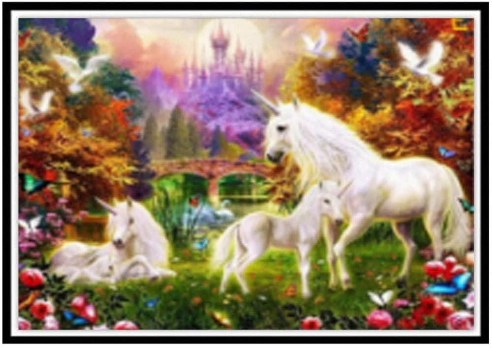 Generies DIY 5D Diamond Painting Full Round Diamond Cartoon Animal Mosaic Cross Embroidered Horse Landscape Flower Round Diamond Mosaic 40X30CM 