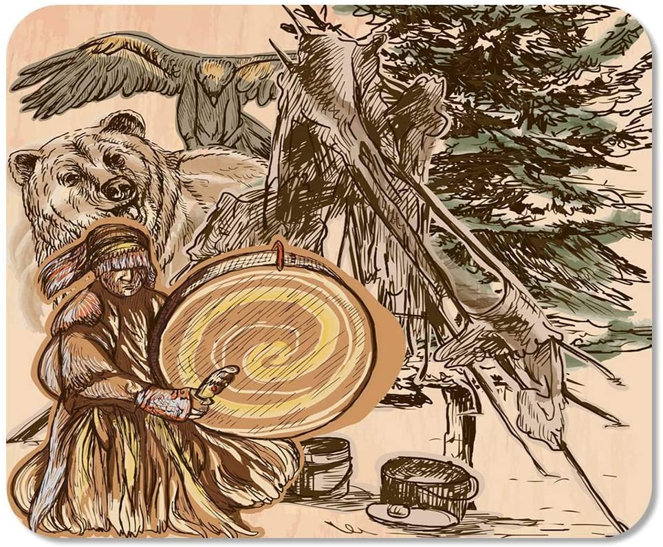 Suike Mousepad Computer Notepad Office Shaman Native Man with Drum Drummer Sitting in The Forest Near Him are Grizzly Bear Home School Game Player Computer Worker 9.5x7.9 Inch