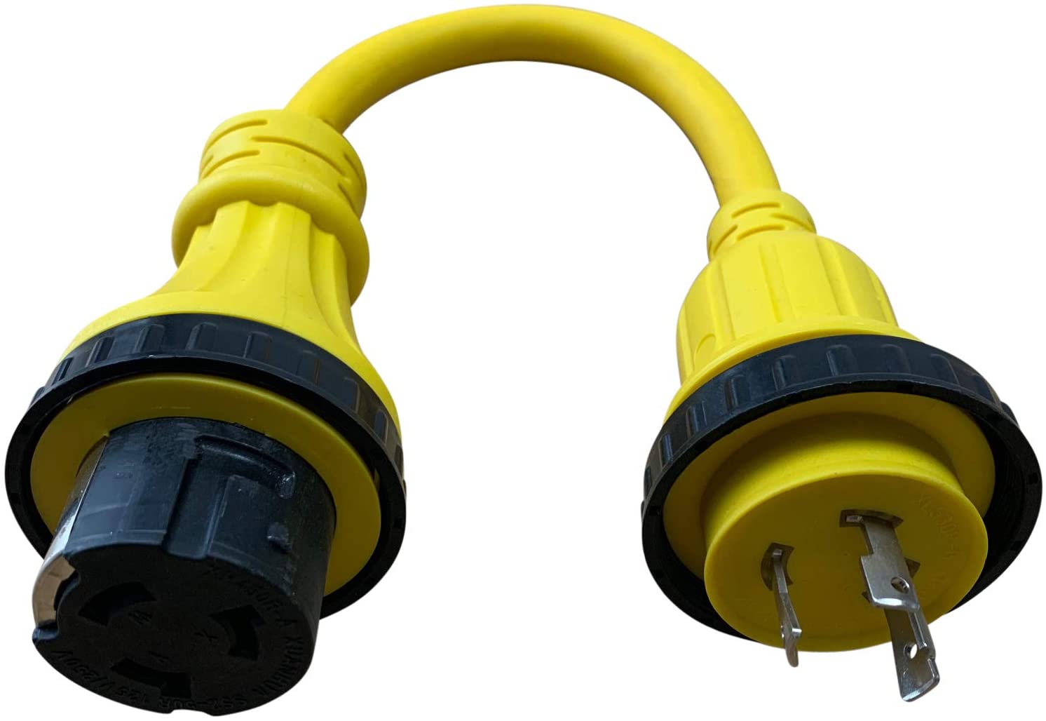 Halex, 30150, 1.5 FT. Marine Shore Power Adapter For Boats, Campers, or RVs, 30 Male to 50 Amp Female, Amp Amp, Yellow
