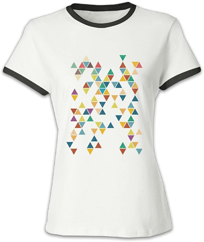 NO1 Inspiring Quotes Hot Contrasting Colors Personalized T Shirts Colossal Abstract Triangles T Shirts for Women's