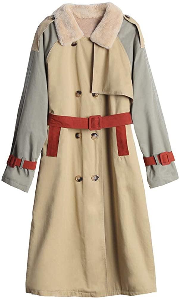 Autumn and winter new mid-length fashion retro stitching coat