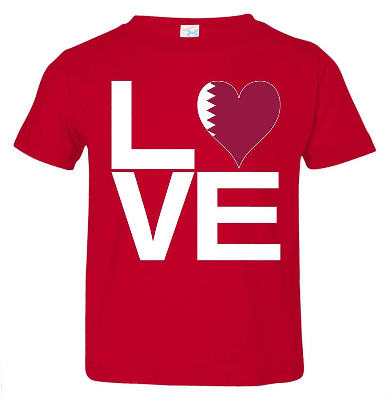 HARD EDGE DESIGN Toddler's Love Block Qatar Heart T-Shirt, 3T, Red