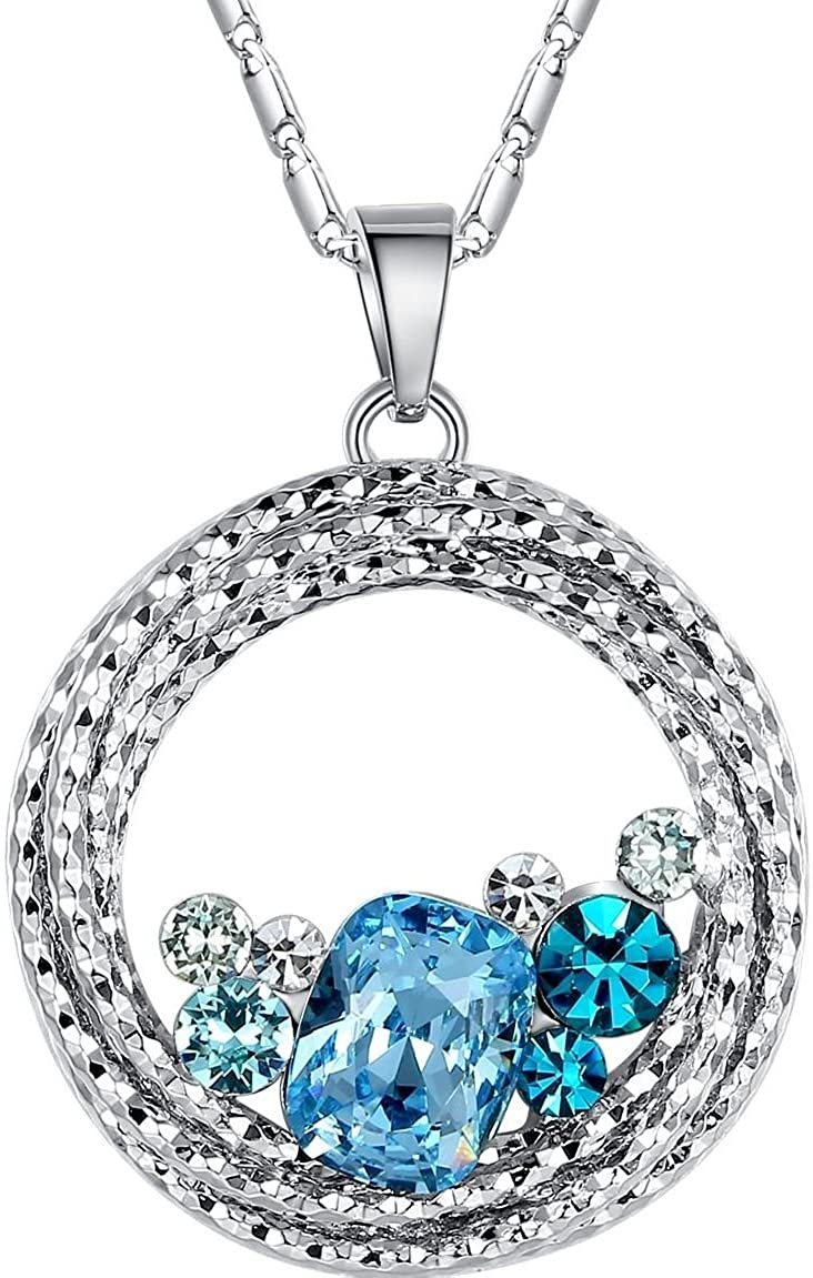 Leafael Ocean Wave Crystal Necklace Aquamarine Blue Green Multi Stone Circle Pendant Womens Jewelry, Silver Tone, 18+2