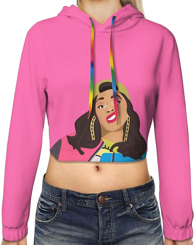 ETONKIDD Cardi B 3D Print Hoodie for Women Long Sleeve Hooded Pullover Sweatshirt Black