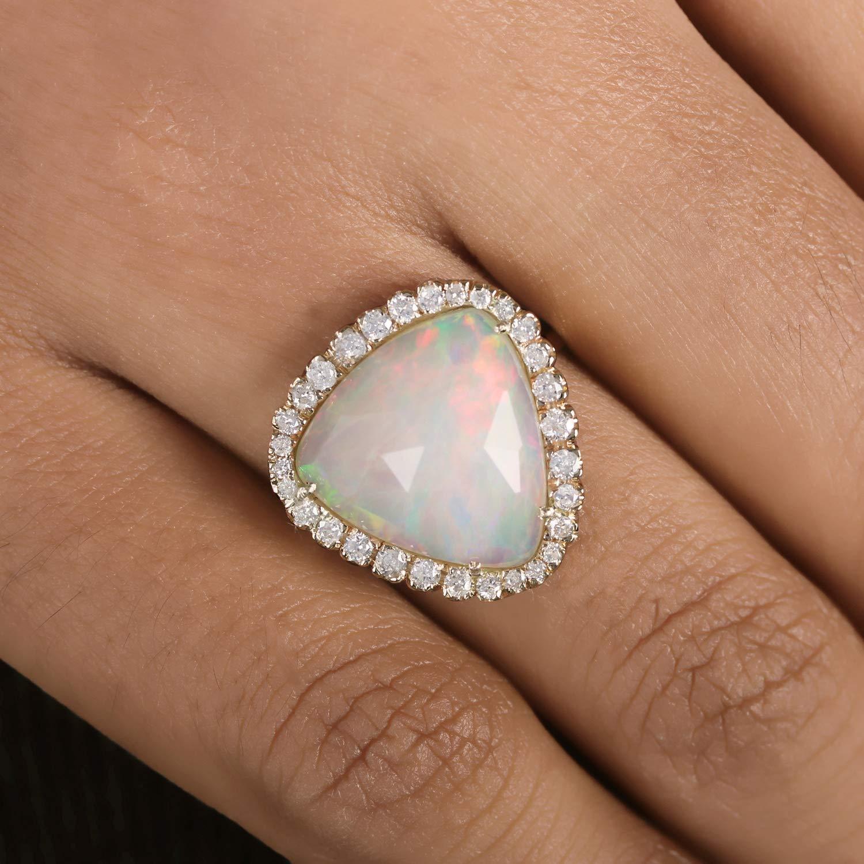 Solid 14k Yellow Gold Real 5.10 Ct. Ethiopian Opal Triangle Shape Designer Gemstone Diamond Ring Handmade Fine Jewelry, Everywhere Jewelry, October Birthstone Necklace