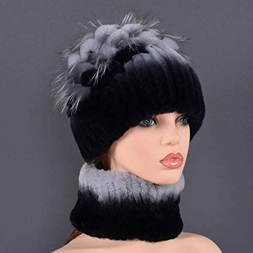 OG-Renstky Women's Real Rabbit Fur Hats Fashion Style Hat Scarf Sets Real Fur Tassel for Lady Caps