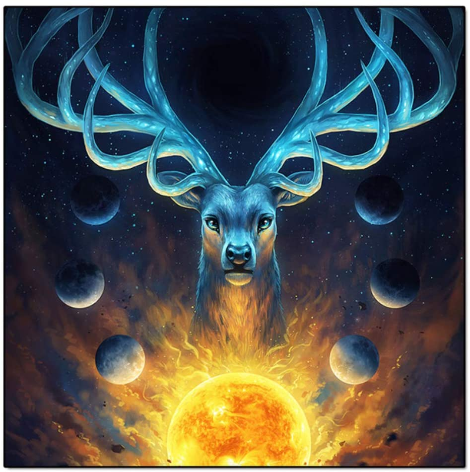 PTLAWS Canvas Painting Wall Decor Living Room Golden Ball Deer Posters Animal Bedside Picture for Childrens Room Decor 60x60 cm/23.6 x 23.6x1 Framed