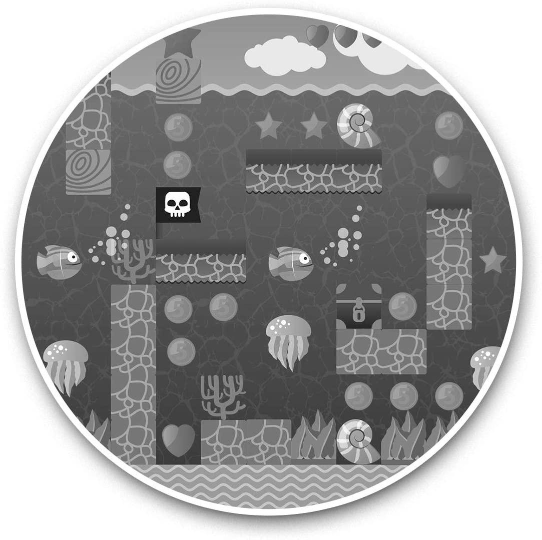 Vinyl Stickers (Set of 2) 15cm Black & White - Underwater Platform Computer Game Geek Laptop Luggage Tablet #42128