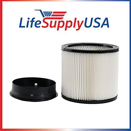 LifeSupplyUSA Replacement Filter Compatible with ShopVac 90304 903-04 903-50-00 Shop Vac Models 5 Gallons and Up Type U Wet/Dry Vacuum Filter Cartridge with Lid