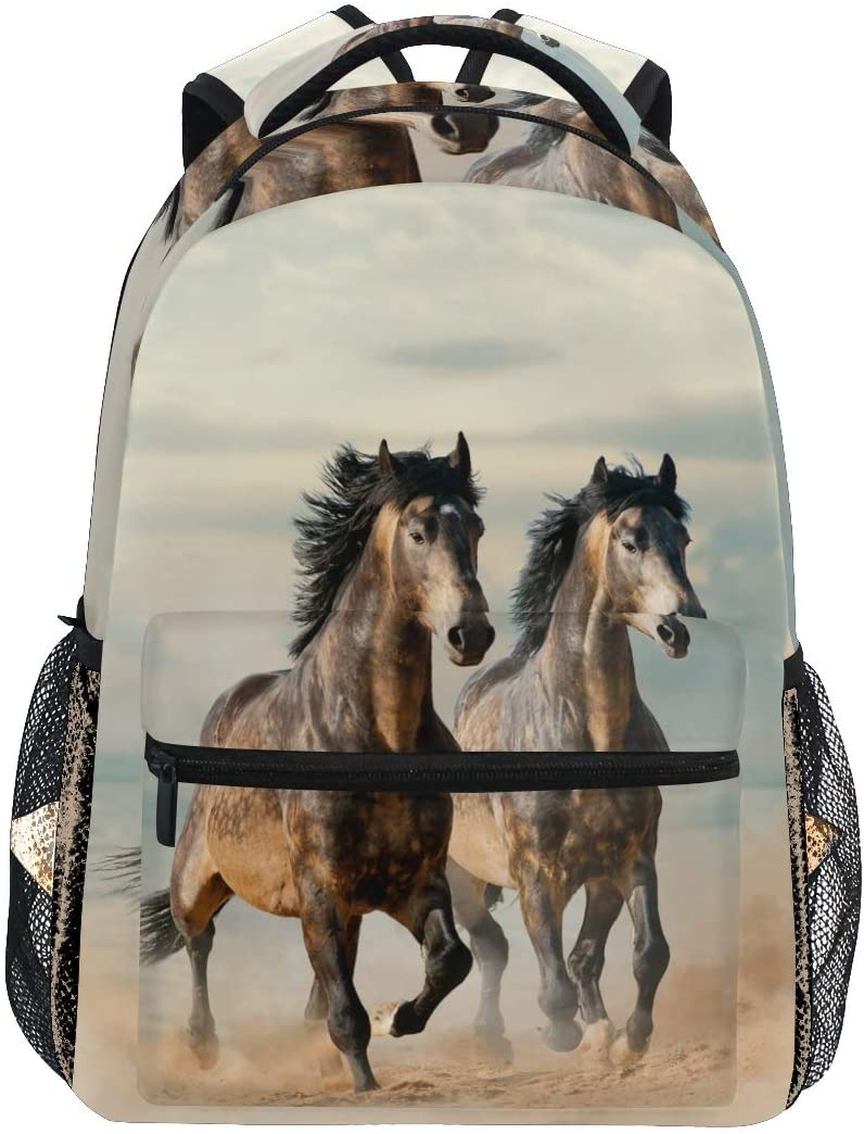 OREZI Lightweight Backpack for School,Beautiful Horses School Bookbags Laptop Backpack Casual Travel for Youth Boys and Girls Back to School