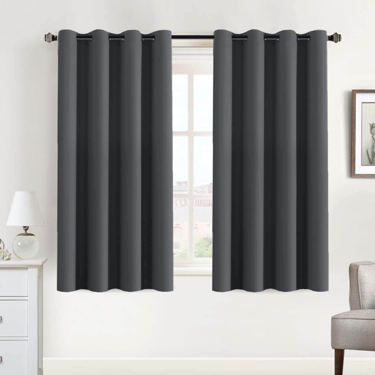 Flamingo P Blackout Curtains for Bedroom Room Darkening Curtains Thermal Insulated Curtains Window Panel Drapes - (Charcoal Grey Color) - 2 Panels - 52 inch by 63 inch, Charcoal Gray, Grommet Top
