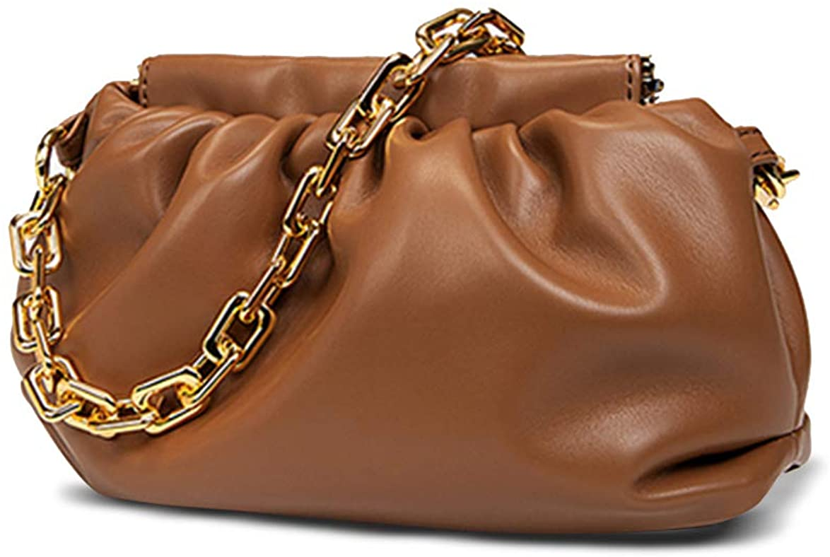 Women's Chain Pouch Bag Cloud-Shaped Dumpling Ruched Clutch Purse Fashion Trendy Crossbody Bags Chain-Link Shoulder Handbag