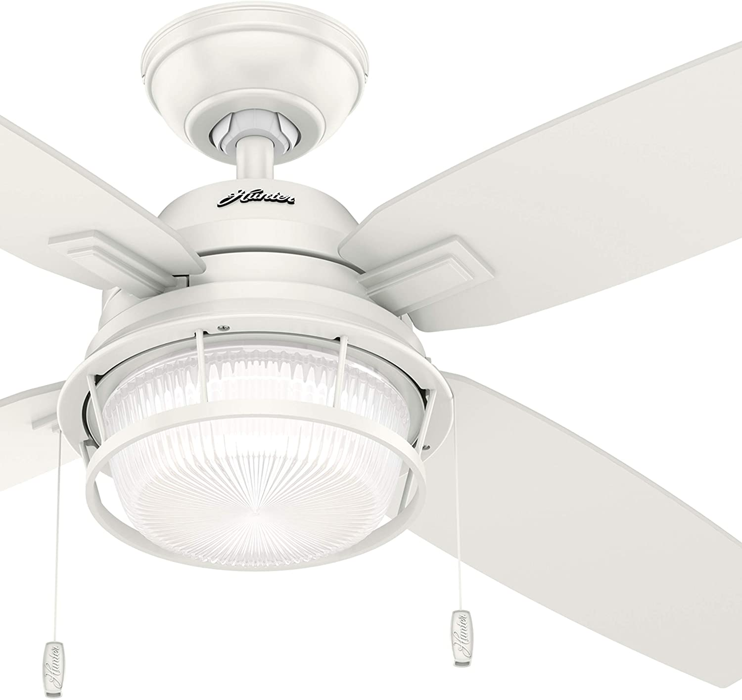 Hunter Fan 52 inch Casual Fresh White Indoor/Outdoor Ceiling Fan with LED Light Kit (Renewed)