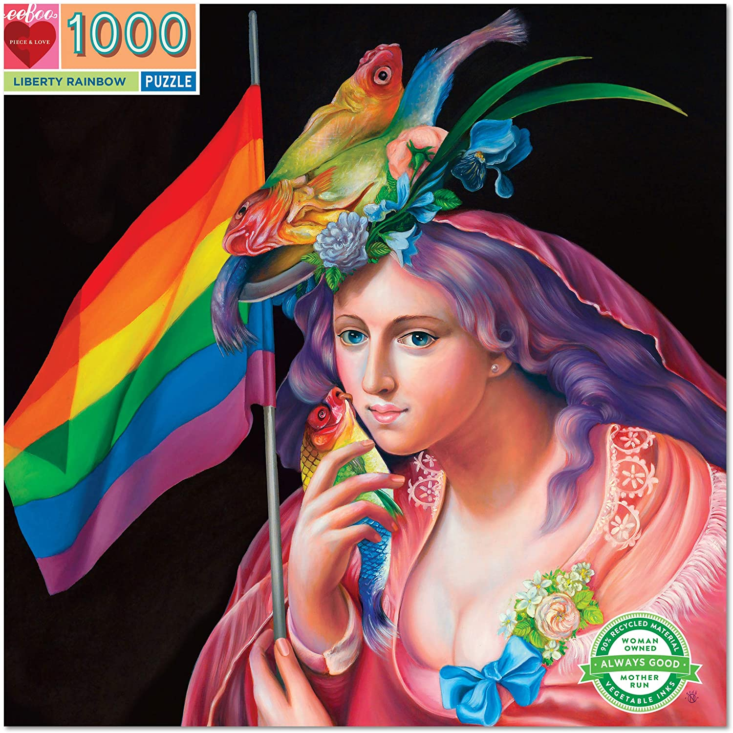 eeBoo Liberty Rainbow 1000 Piece Puzzle for Adults