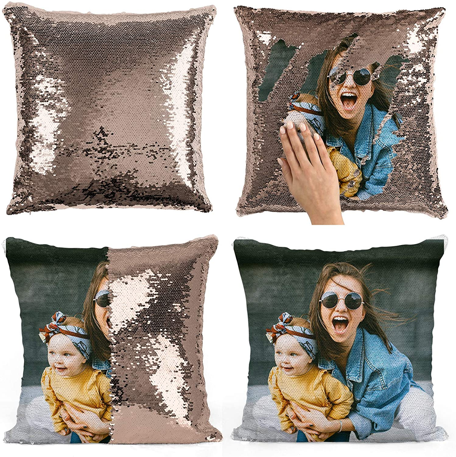 DREAM KARIN Custom Photo Sequin Pillow Personalized Mermaid Sequin Pillow Gift for Her Gift for Mom Custom Pillow Magic Sequin Pillow Personalized Gifts (Black/White, No Insert Just Case)