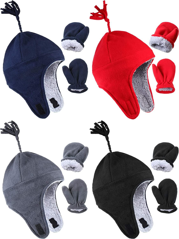 4 Sets Newborn 6-18 Months Baby Boy Hat and Gloves Lined Winter Warm Fleece Hat Mitten
