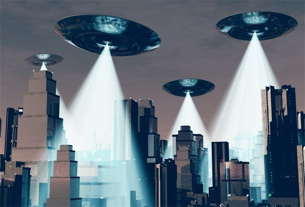 AOFOTO 5x3ft UFO Backdrop Flying Saucer Photography Background Science Fiction Planet Alien Spacecraft Alien Invasion Earth City Kid Boy Children Artistic Portrait Photo Studio Props Vinyl Wallpaper