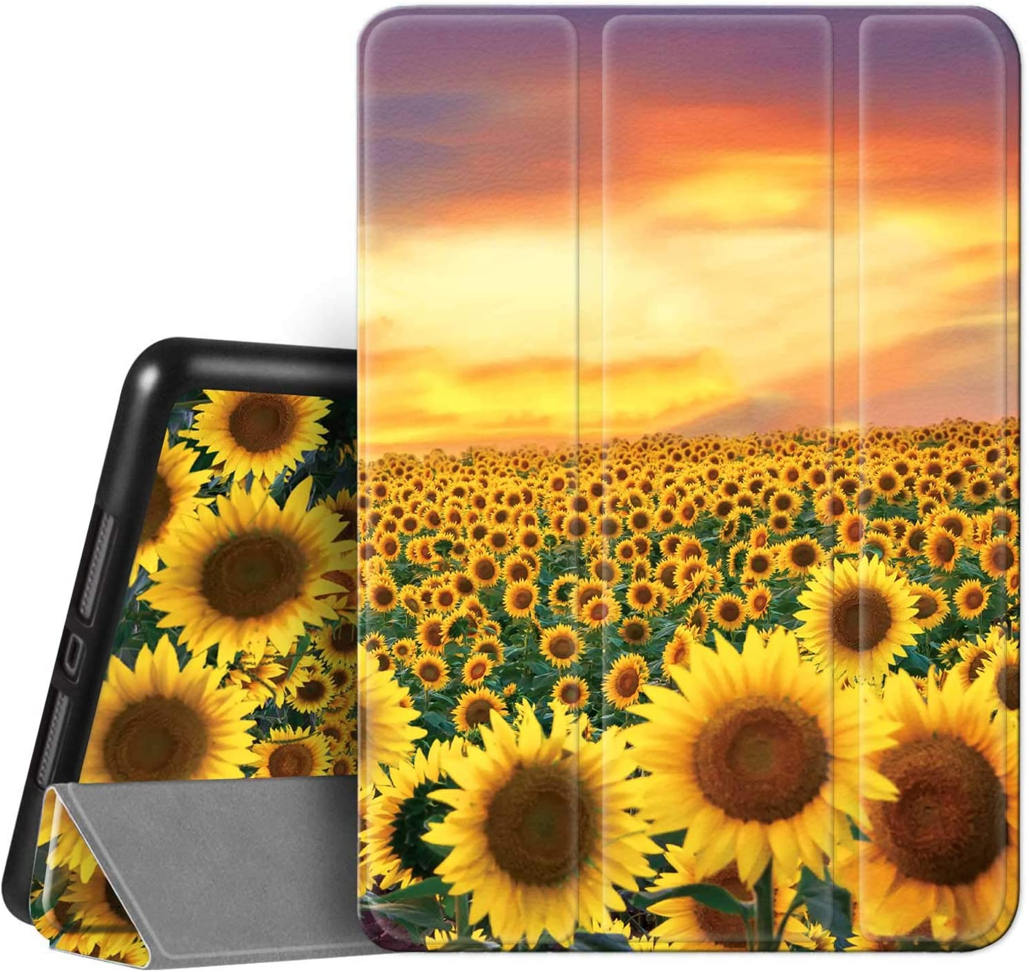 Hi Space iPad 8th / 7th Generation Case iPad 10.2 Case Sunflower 2020 2019 with Pencil Holder, Painting Landscape Floral Flower Shockproof Cover Auto Sleep Wake for A2270 A2428 A2429 A2197 A2198 A2200