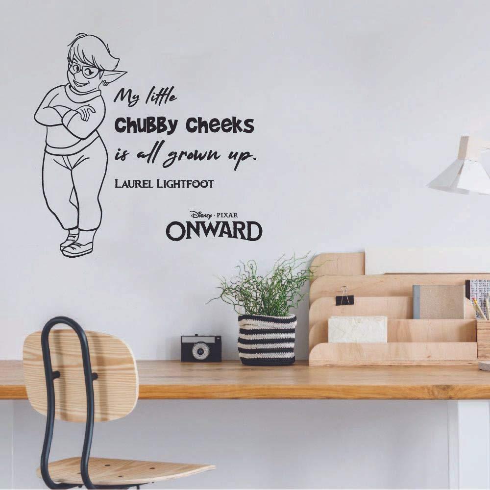 Chubby Cheeks Laurel Quote Onward Movie Disney Cartoon Wall Sticker Art Decal for Girls Boys Room Bedroom Nursery Kindergarten Fun Home Decor Stickers Wall Art Vinyl Decoration Size (20x20 inch)