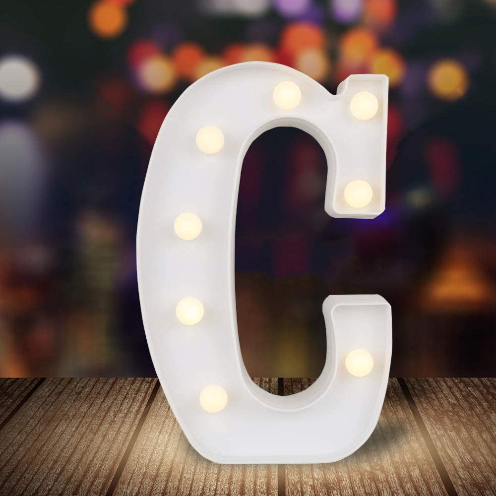 ODISTAR LED Light Up Marquee Letters, Battery Powered Sign Letter 26 Alphabet with Lights for Wedding Engagement Birthday Party Table Decoration bar Christmas Night Home,9'', White(C)