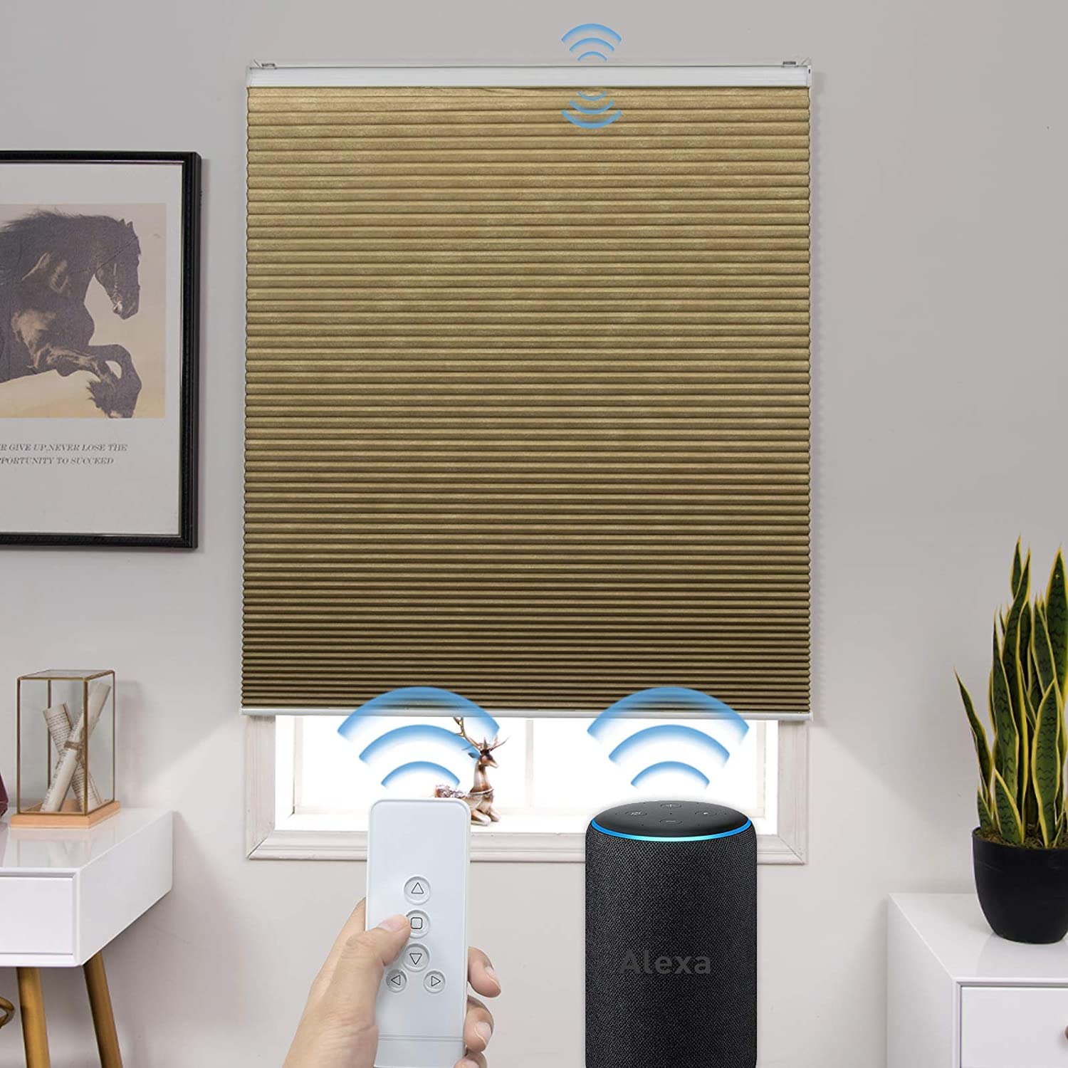 Graywind Motorized 100% Blackout Single Cell Cellular Shades Compatible with Alexa Cordless Remote Thermal Insulated Smart Shade with Valance, Customized Size Coffee
