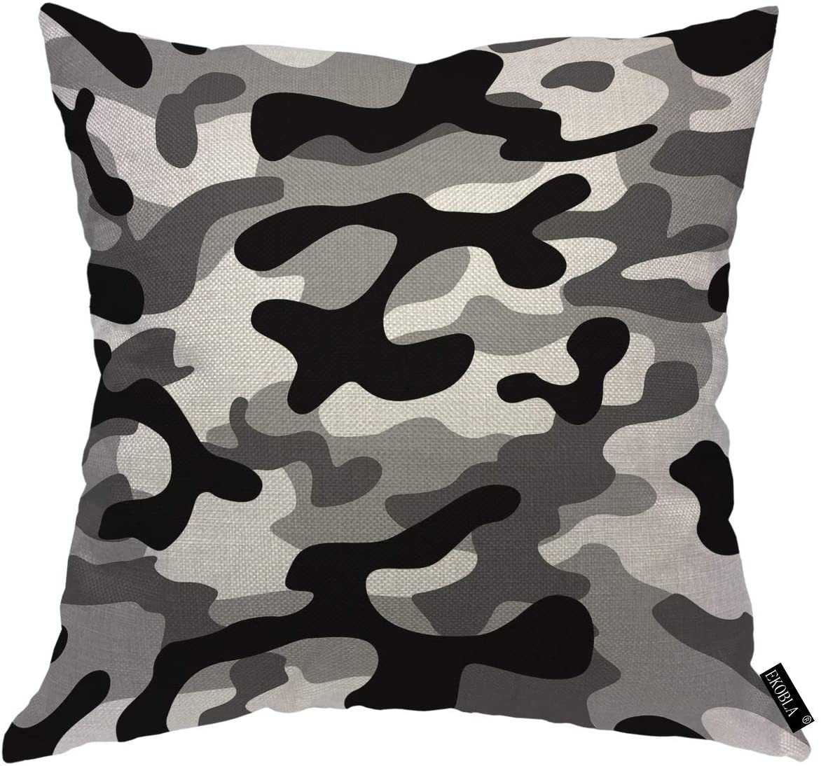 EKOBLA Gray Camouflage Throw Pillow Covers Modern Military Navy Fashion Uniform Classic Hunting Leaves Cozy Square Cushion Case for Men Women Boys Girls Home Decor Cotton Linen 18x18 Inch