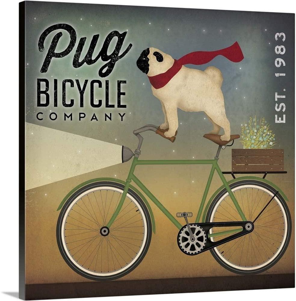 Pug on a Bike Canvas Wall Art Print, 20