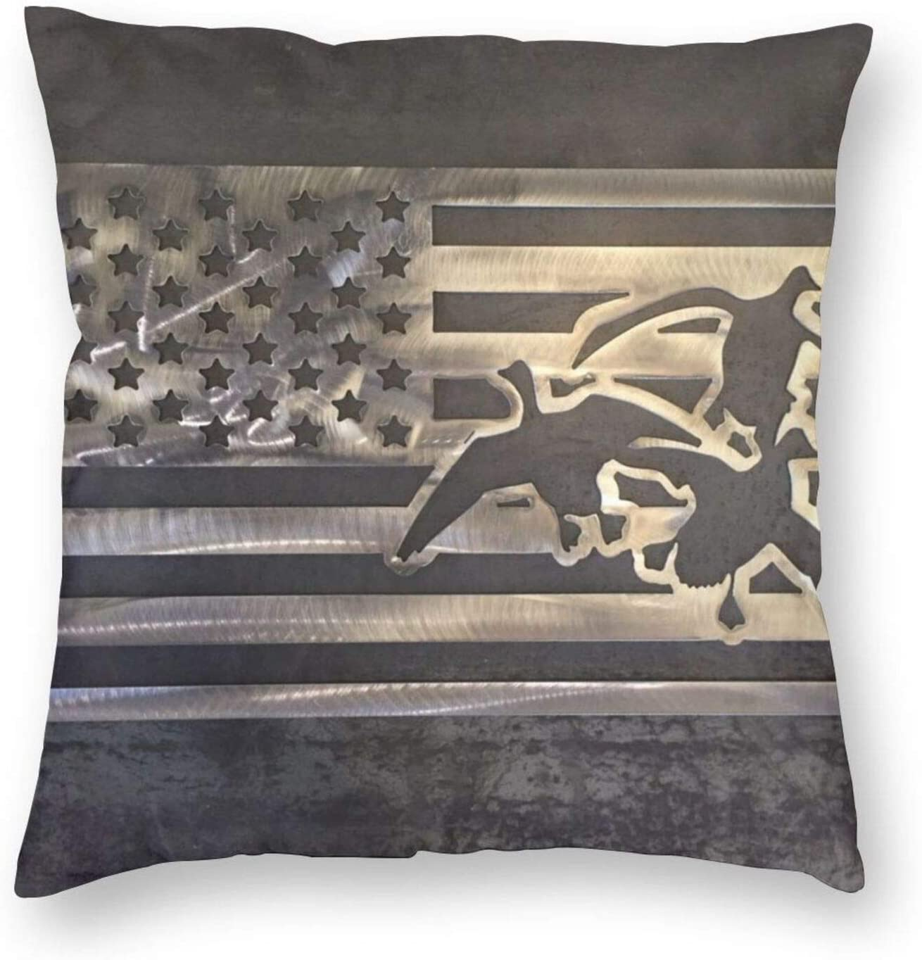 antoipyns Duck Hunting USA Flag 3D Printed Pattern Square Cushiondecorative Pillow Case Home Decor Square 18x18 Inches Pillowcase/Living Room/Car/Bedroom