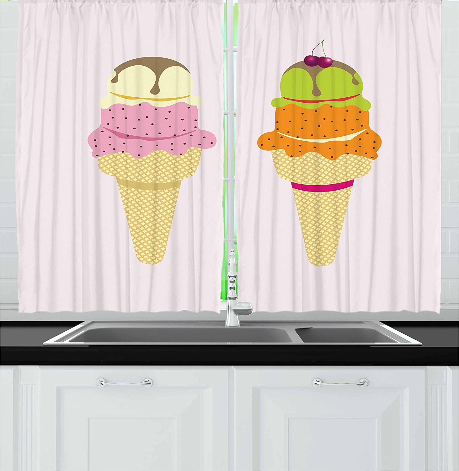 Lunarable Ice Cream Kitchen Curtains, Colorful Cones with Different Flavored Cold Desert Chocolate and Cherry on Top, Window Drapes 2 Panel Set for Kitchen Cafe Decor, 55