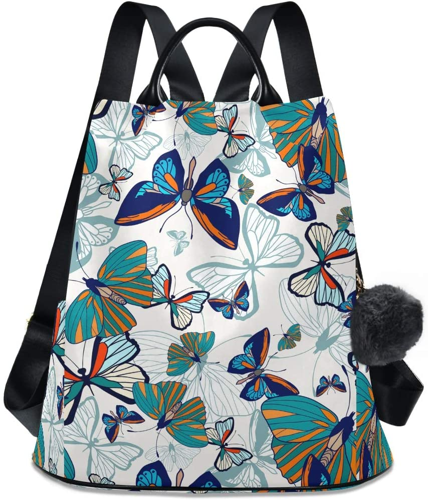 ALAZA Beautiful Nature Animal Butterfly Backpack Purse for Women Anti Theft Fashion Back Pack Shoulder Bag