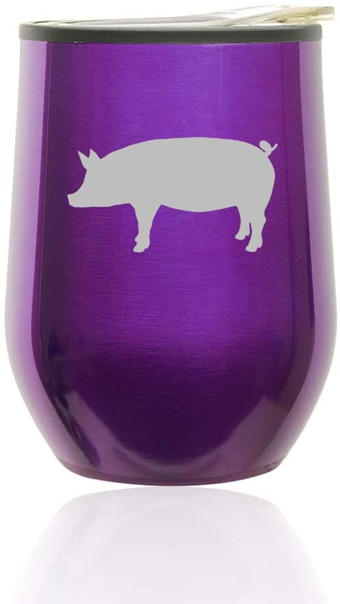 Stemless Wine Tumbler Coffee Travel Mug Glass With Lid Pig (Royal Purple)