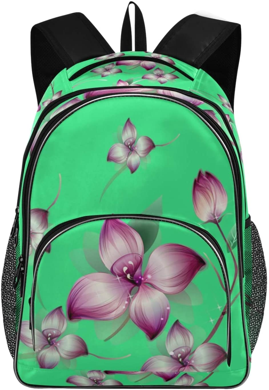 Travel Laptop Backpack with USB Charging Compatible Design for Women School College Students Backpack Fits 15.6 Inch Laptop(Purple Flower)