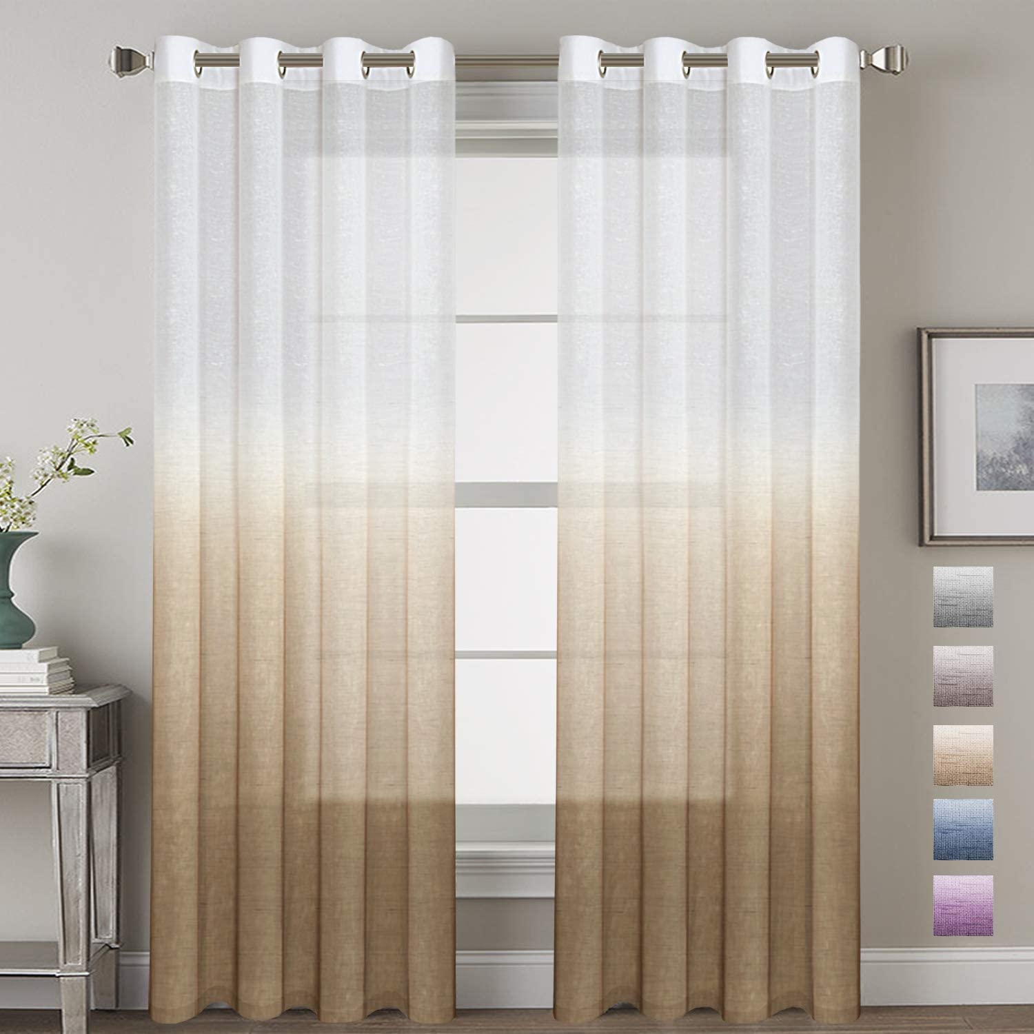 H.VERSAILTEX Soft and Natural Linen Blended Semi-Sheer Privacy Assured Ombre Curtains Energy Smart Nickel Grommet Curtain Panels with Adjustable Tie-Back -Set of 2, Taupe, 52x96 - Inch