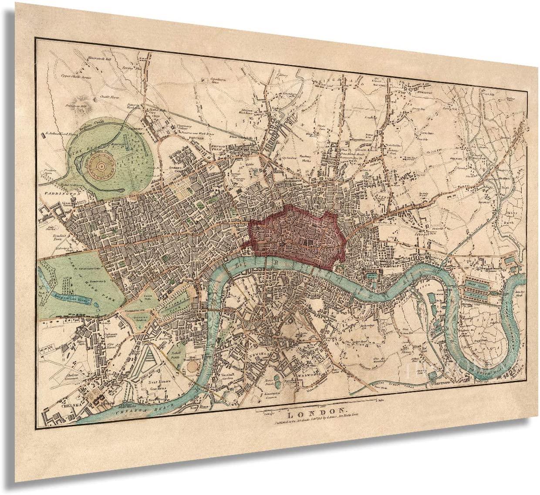 HISTORIX Vintage 1815 London England Map Poster - 24x36 Inch Vintage Map of London Wall Art - Historic London Wall Decor - Old Map of London England Wall Art (2 Sizes)