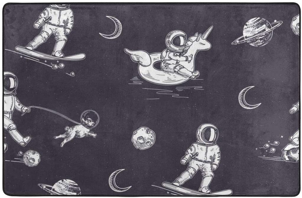 QSMX Fuzzy Abstract Area Rugs for Floor, Luxury Shag Carpets for Home Large Grey Shaggy Floor Carpets Non-Slip Astronaut Walks with Unicorn and Dog in Space